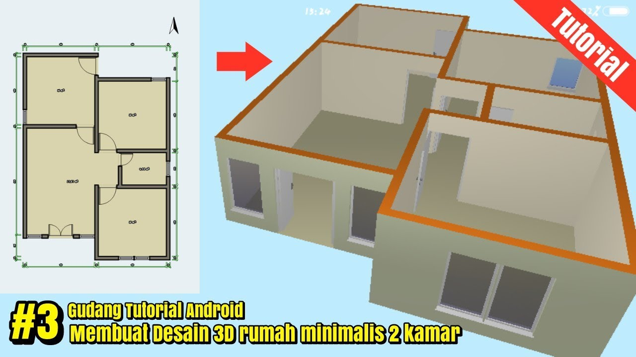 Desain Rumah 3D 6x9 minimalis 2 kamar di android part