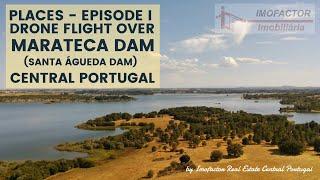 Drone Flight over Marateca Dam Santa Águeda Dam Central Portugal