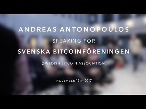 Andreas M. Antonopoulos speaking at Svenska Bitcoinföreningen