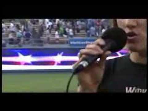 Julie Reiber sings Star Spangled Banner at LA Dodger's