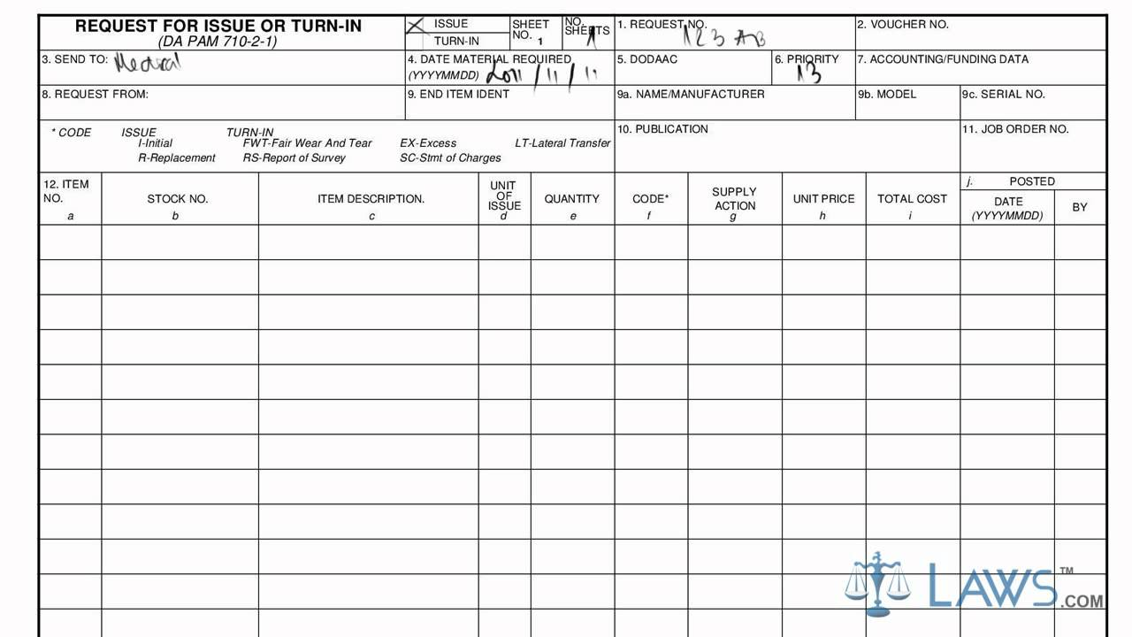 DA Form 3161 Download Fillable PDF or Fill Online Request ... Complete Da Form Example on