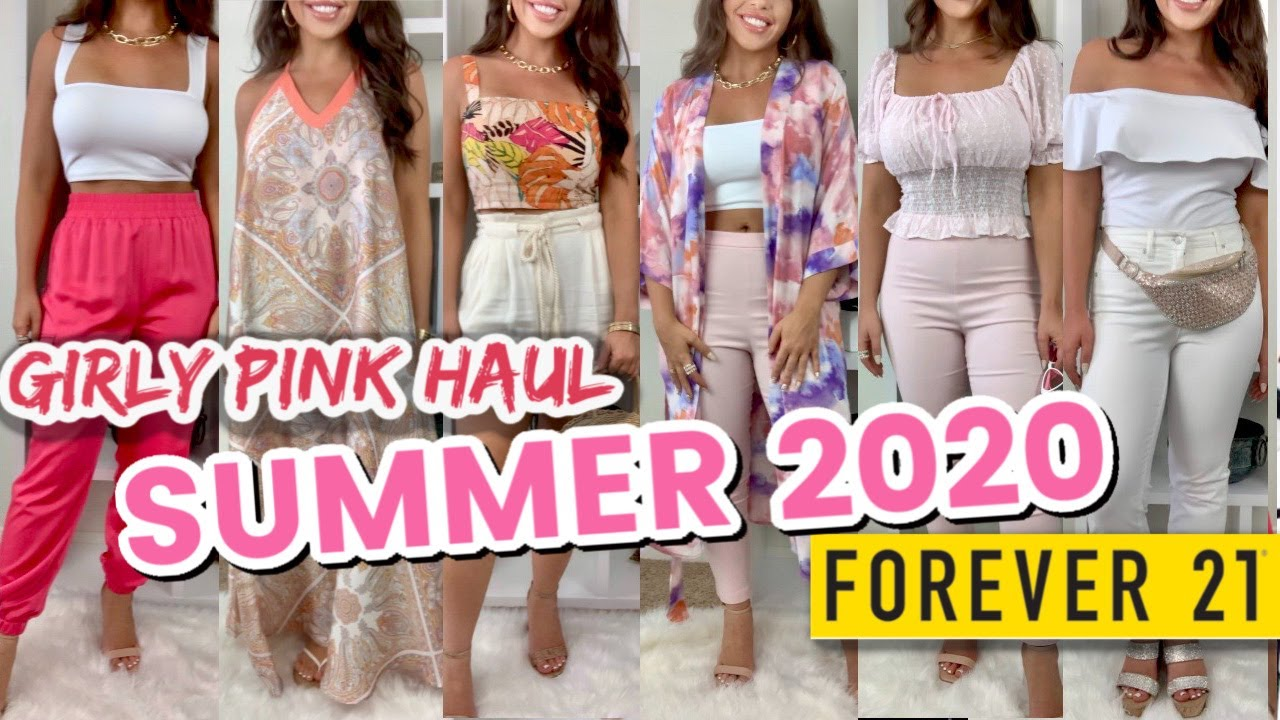 HUGE FOREVER 21 TRY ON HAUL & STYLE | *HUGE* Girly Pink Haul | Summer 2020 Haul | Pink Girly Fashion