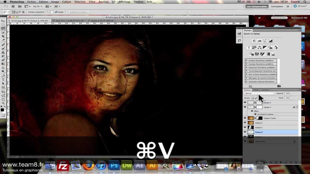 tutoriel photoshop tuto cr er un maquillage mort vivant zombie sur photoshop cs6 youtube. Black Bedroom Furniture Sets. Home Design Ideas