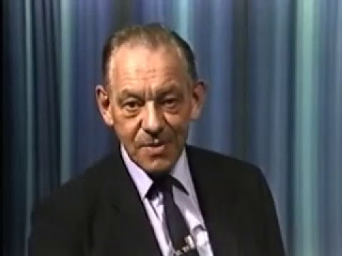 Professor Eric Laithwaite gives a demonstration of a large gyro wheel