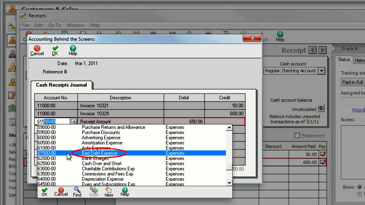 how to write off bad debt in sage 50