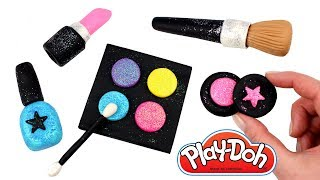 Play Doh Makeup How to Make Glitter Eyeshadow Lipstick Nail Polish Blush Brush with Modelling Clay