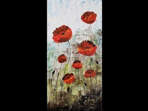 Seaside Poppies Palette Knife Acrylic Painting Tutorial
