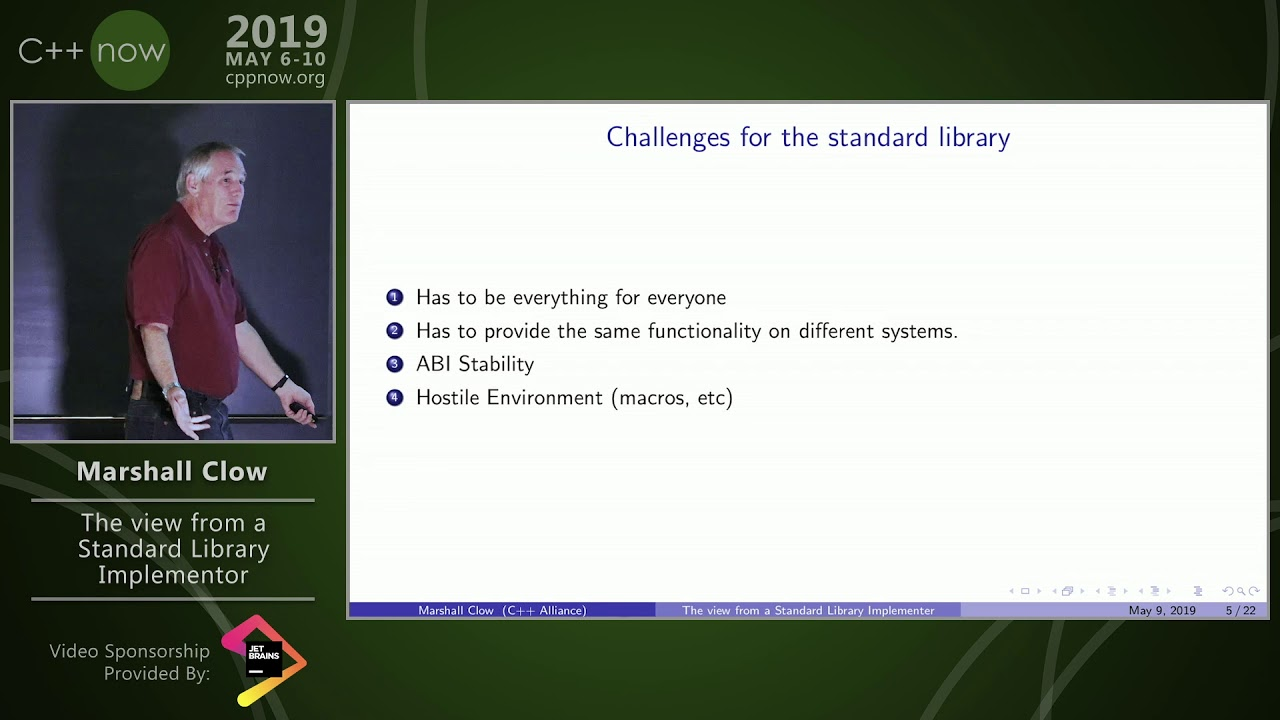 """C++Now 2019: Marshall Clow """"The View from a Standard Library Implementor"""""""