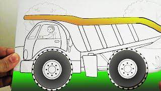 Алина и папа наклеивают наклейки раскраски на машинку грузовик