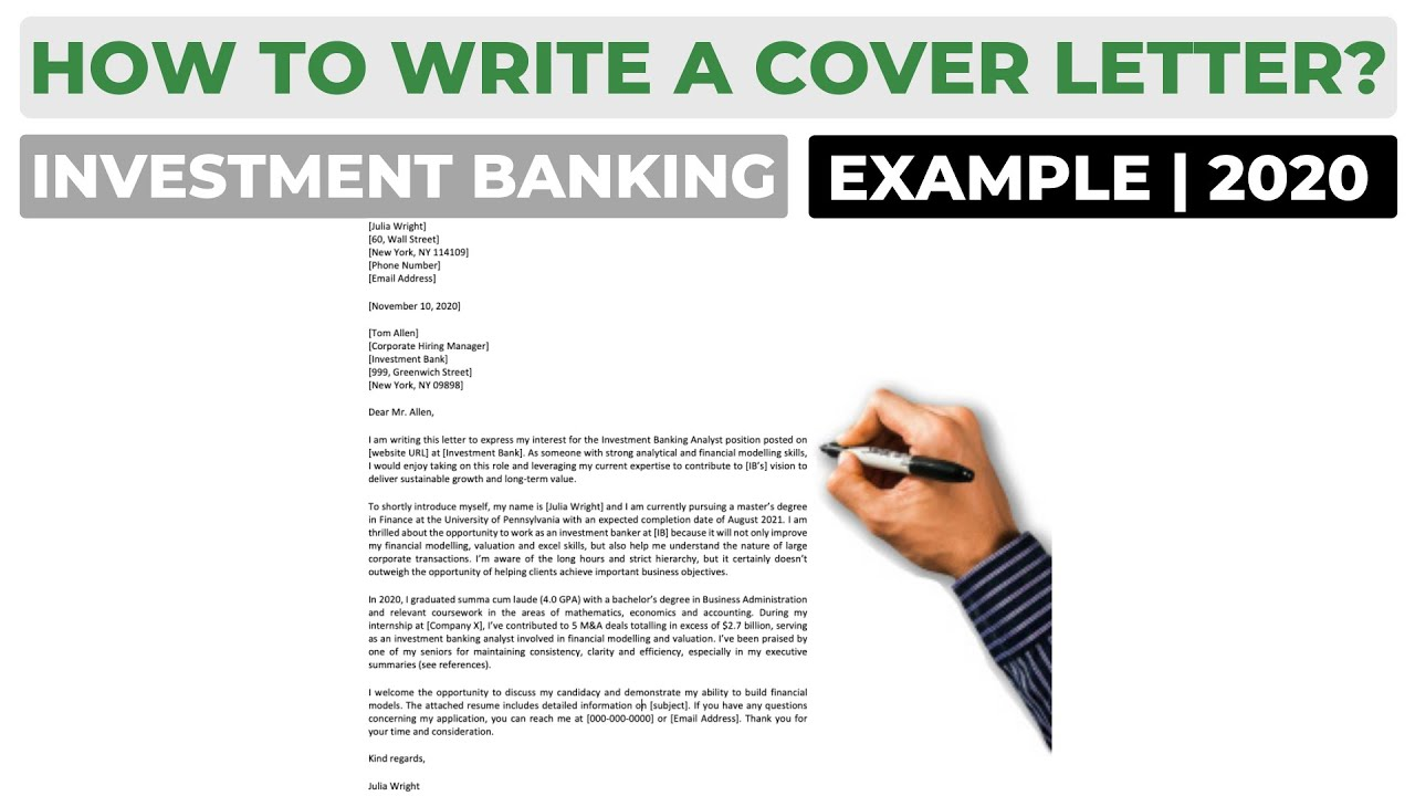How To Write A Cover Letter For An Investment Banking Job Example Youtube