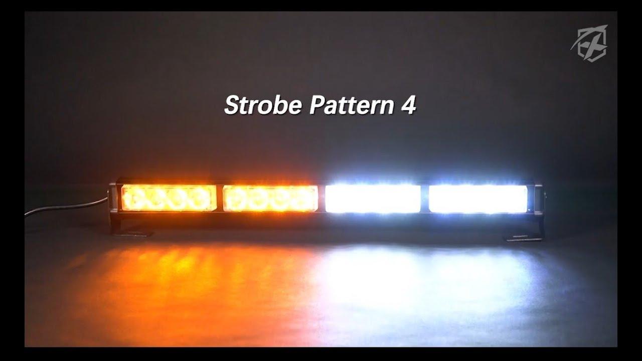 "Xprite White Amber Black Hawk 18/"" Warning LED RoofTop Flash Strobe Light Bar"