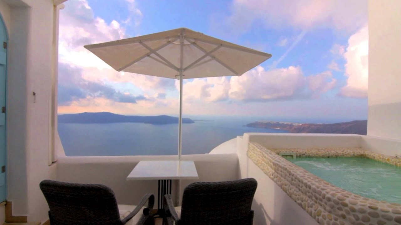 aqua vista above blue suites imerovigli santorini greece hd youtube. Black Bedroom Furniture Sets. Home Design Ideas