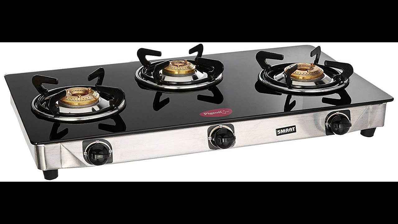 Kitchen Gas Stove Pigeon Blackline Smart Gas Stove 3 Burners  Unboxingasra's