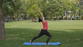 Pretty Indian woman practicing asanas on a yoga mat - healthy lifestyle