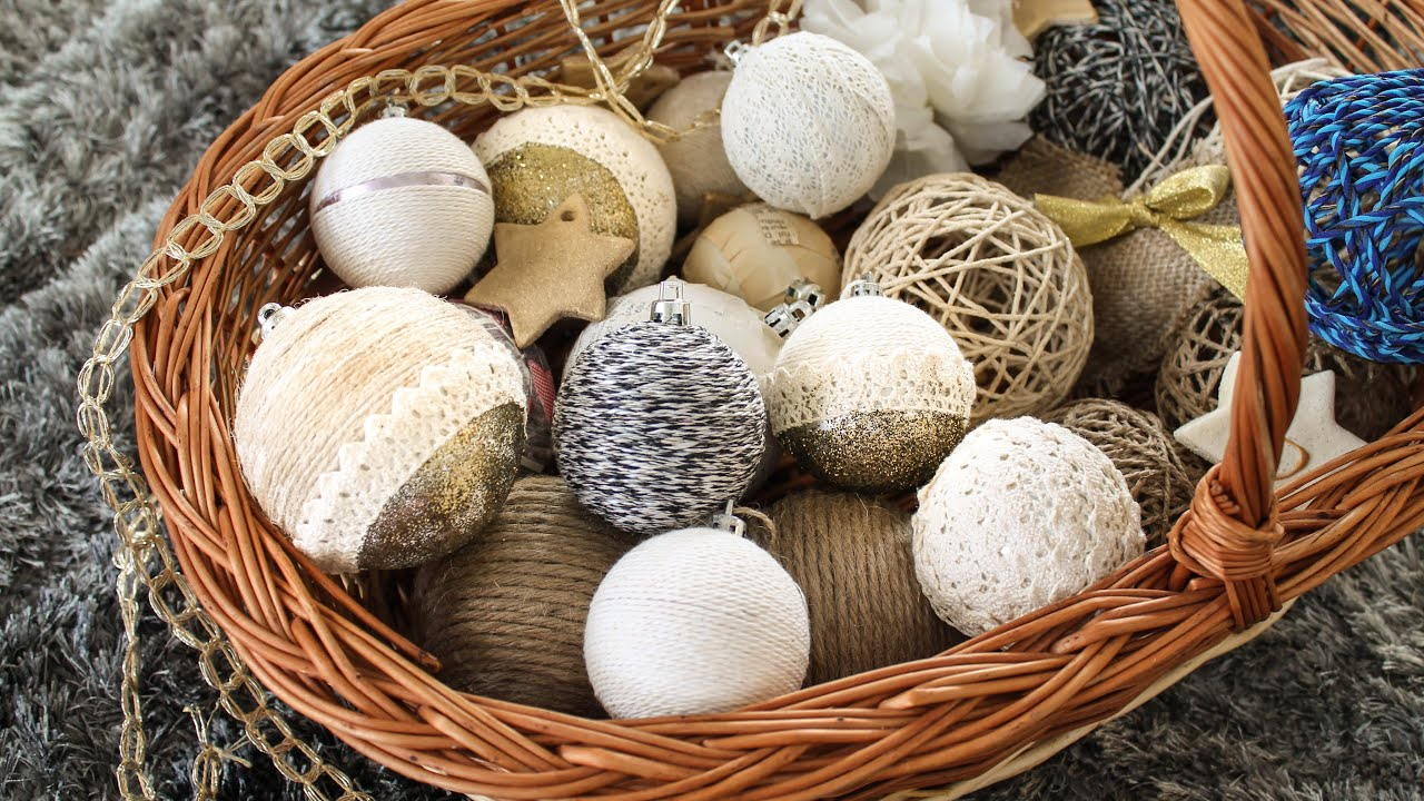 Rustic christmas tree ornaments - Design Globes Yarn Glitter And Lace Diy Rustic Christmas Decorations Part 5 Youtube