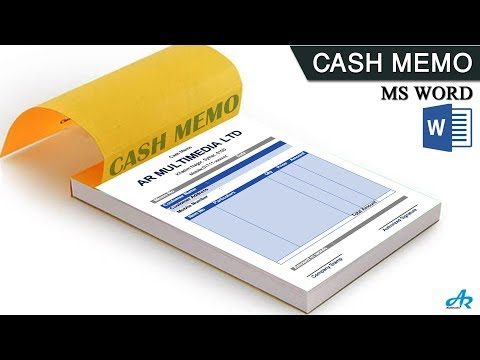 MS Word Tutorial: How To Make Cash Memo Design In MS Word 2019 | Cash Book | Money Receipt By AR