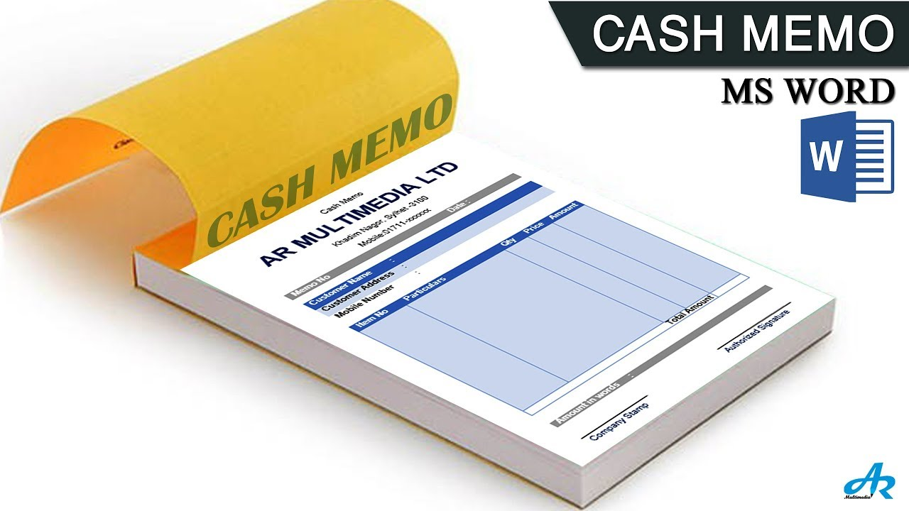 ms word tutorial  how to make cash memo design in ms word 2019