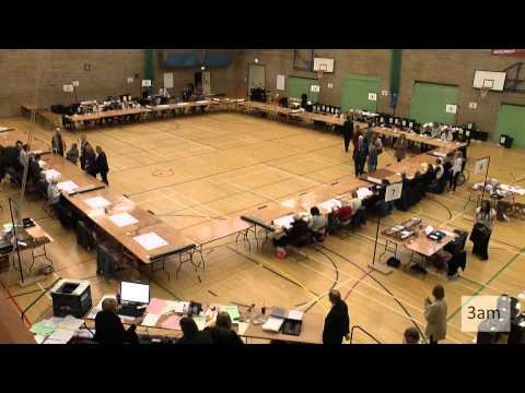 Parliamentary election count for the Daventry Constituency at Daventry Leisure Centre, May 7/8 2015