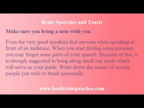 Bride Wedding Speeches - Write Your Message In A Worry-Free Way