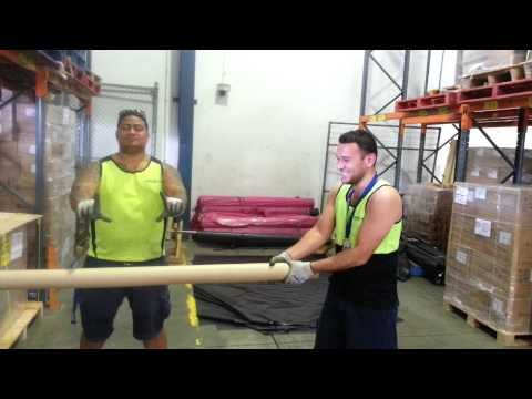 Drunken Tongans mucking around at work