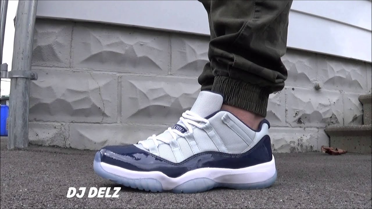 new concept 4f732 03b2e Air Jordan 11 Low Grey Mist Georgetown Sneaker On Feet Review With  DjDelz