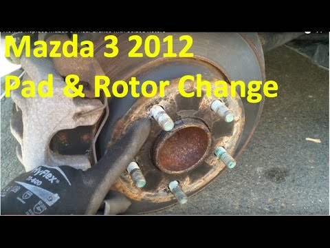 how to replace mazda 3 i rear brakes with seized rotors youtube. Black Bedroom Furniture Sets. Home Design Ideas