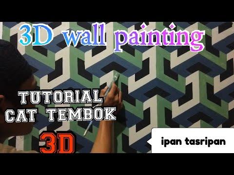Cat tembok 3D- 3D wall painting- wall art painting decoration- tutorial cat tembok 3D thumbnail