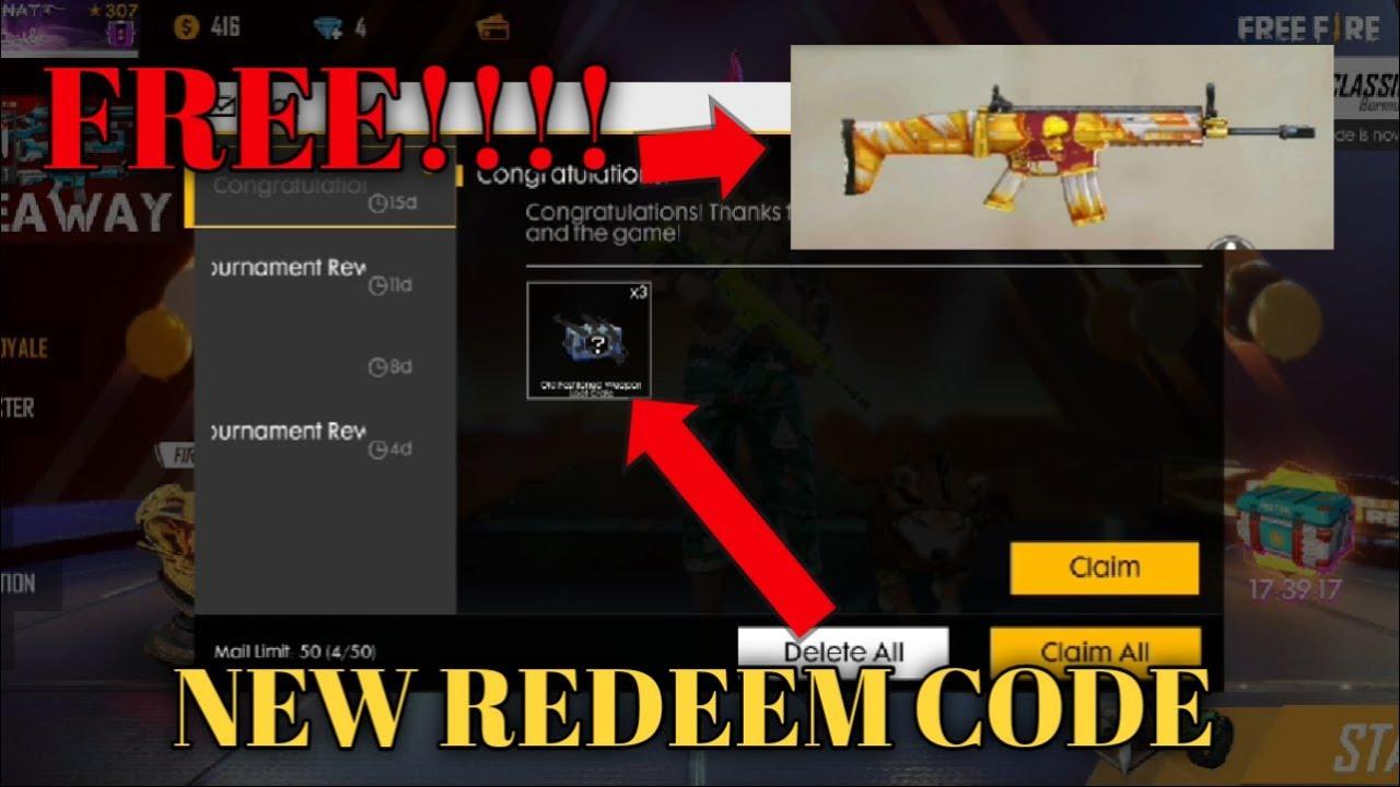 Free Fire Redeem code || free gun skin 2019|| x side gamer ...
