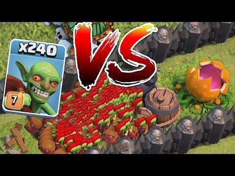 Clash Of Clans - 240 GOBLINS!! Vs. PUMPKIN MAZE (Troll attack)