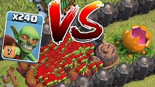 Clash Of Clans - 240 GOBLINS!! Vs. PUMPKIN MAZE (Troll attack)