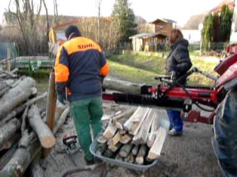 Holz Spalten Mit Jansen Liegend Spalter Youtube