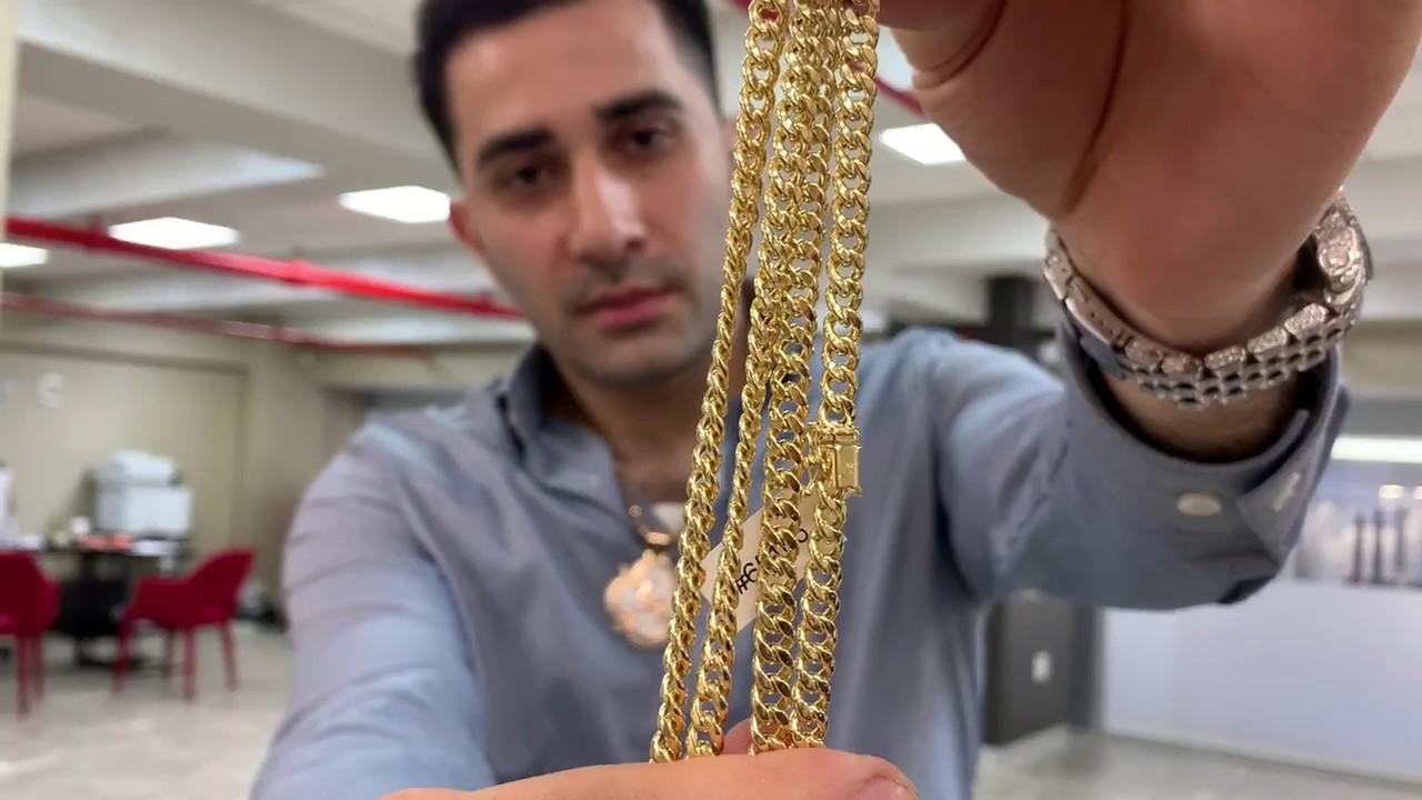 24ffe6492dc75 Miami Cuban Link Chain Semi Hollow 14K Yellow Gold