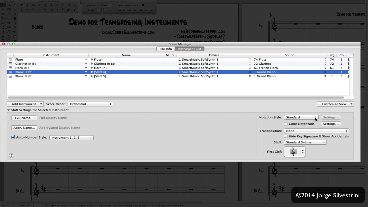 Finale 2014: Transposing Instruments with NO Key Signature - Jorge  Silvestrini