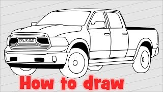 How to draw Truck Dodge Ram 1500 - 2018 Pickup drawing