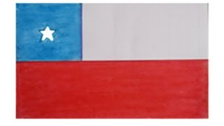 Chile national flag | pencil drawing