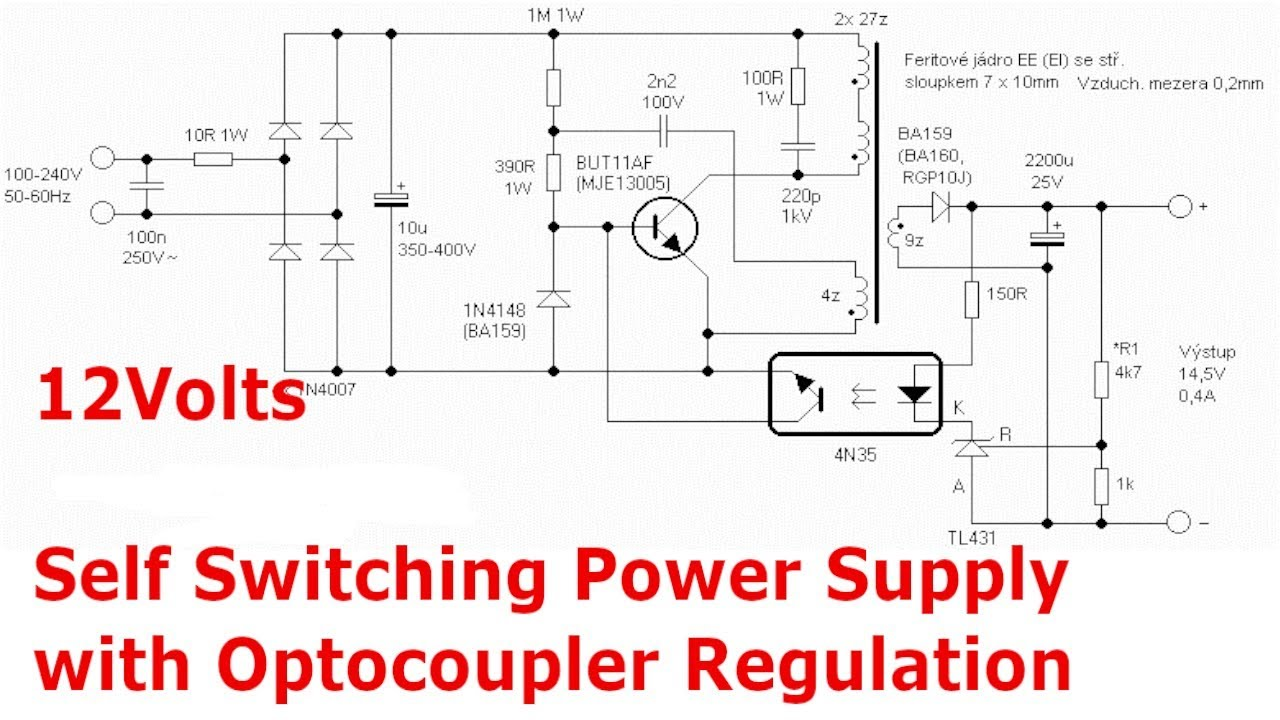 12V Switching Power Supply with Optocoupler and TL431 Regulator