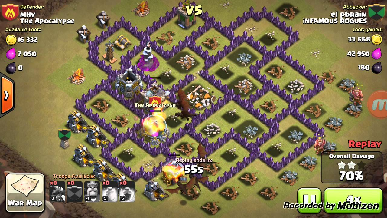 Dragon hog attack strategy for coc wars townhall 7 8 youtube