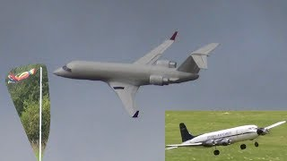 RC CRJ-200, DC-6 and Fairchild Metroliner Windy Flying