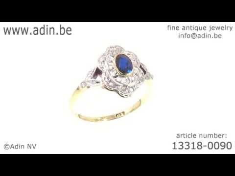 Art Deco Belle Epoque engagement ring with diamonds and sapphire. (Adin reference: 13318-0090)