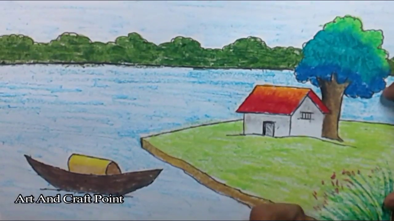 How To Draw Simple Scenery For Kids 11 Art And Craft Point Youtube