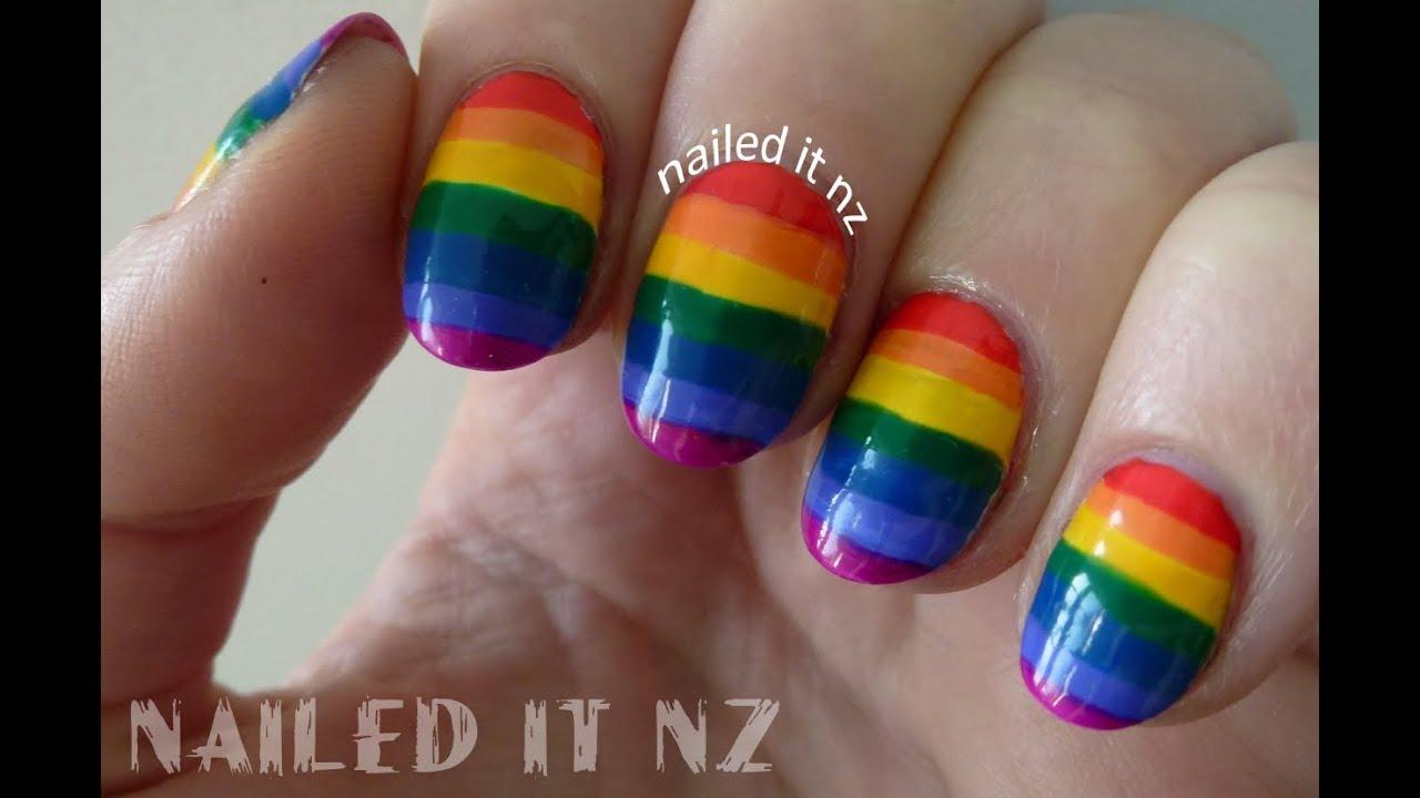 Striped Rainbow Nails