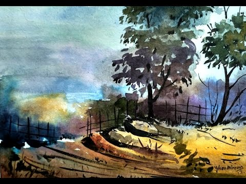 Easy for landscape watercolor painting | Paint with david