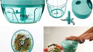 Details about  /Pigeon Handy Mini Plastic Vegetable Chopper With 3 Steel Blades Grey Kitchen