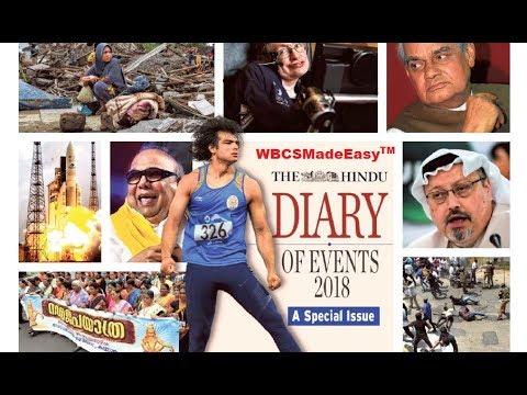 Diary Of Events 2018|WBCS Exam 2019 |WBCSMadeEasy |Current Affairs