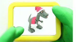 PLAYING DINO GAME! In Superhero Green Baby Stop Motion Cartoons For Kids
