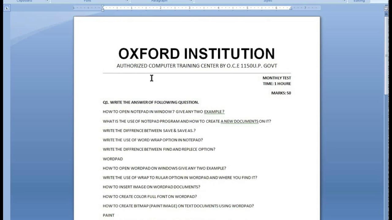 how to make test exam paper formet ms word 2007 in hindi oxford computer education new