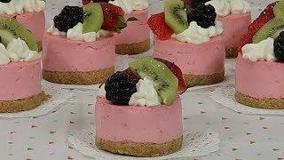 Mini Cheesecakes de Fresas para Mesa de Postres - Recetas en Casayfamiliatv