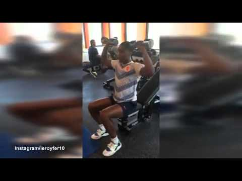 Leroy Fer works hard in the gym as he...