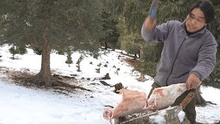 【Wild Cooking】Making mutton hot pot in a snowy mountain where the temperature is below 30 degrees.