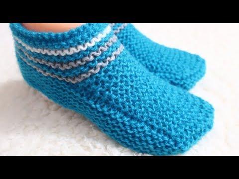 СЛЕДКИ НА 2 СПИЦАХ. САМЫЕ ПРОСТЫЕ./how To Knitting Slippers